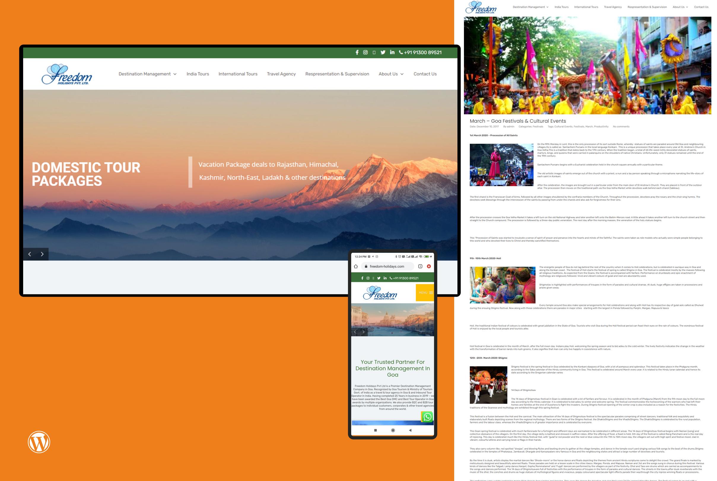 Freedom Holidays Website Design